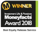 Moneyfacts awards 2018 - Best Equity Release Service